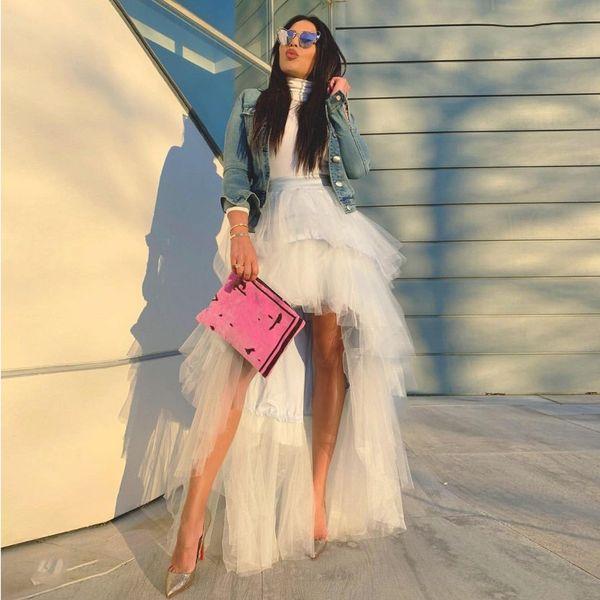 Saias Skirts Tulle Ivory Custom Made Maxi Skirt Party Custom Made jupe femme Hi Low Front Short Back Long Skirts