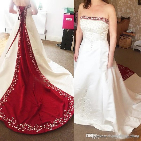 Vintage Red And White Satin A Line Wedding Dresses 2019 Real Image Plus Size Embroidery Beaded Bridal Gowns For Garden Country Custom Made