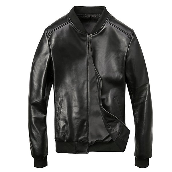 Drop Shipping Men Skull Embroidery sheepskin Genuine Leather Coats 5XL Motorcycle Jacket Real Thick Slim Fit Black 2019 clothing