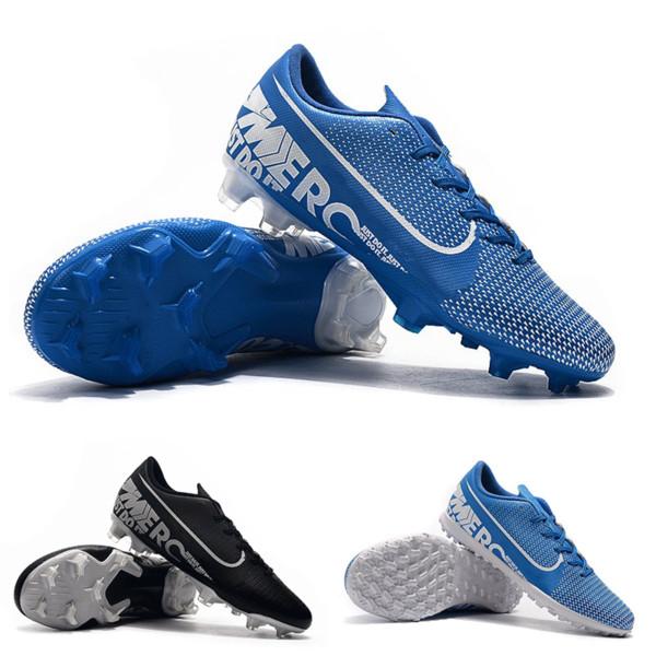 Mais novo Mais Barato Original Vapor X Mercurial XIII PRO FG TF Sapatos de Futebol de Alta Qualidade Azul Preto Atlético Moda Futebol Chuteiras Transporte Rápido