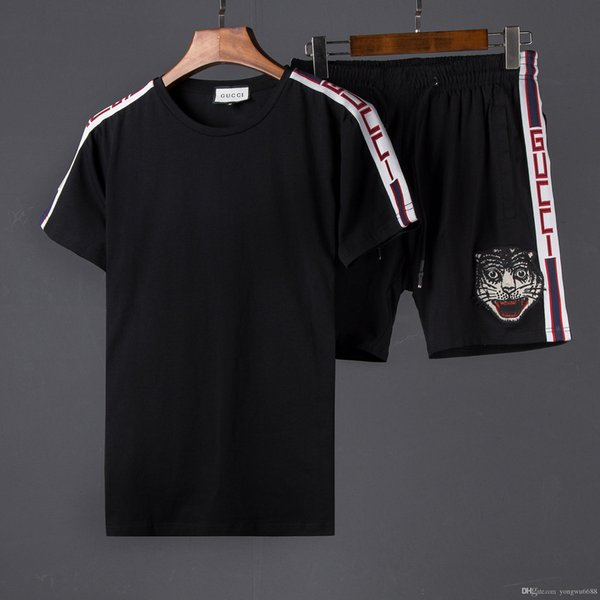 free shipping Latest model Arrived Summer Men's T-Shirts motion Suit Men Pants embroidery dog head Short Sleeve Suit 2019 Men Tracksuit