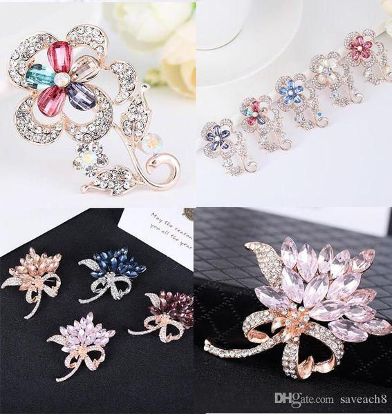 New Crystal Rhinestone Brooches Women Fashion Female Jewelry Alloy Gold Silver Flower Brooch Pins Wedding Accessories