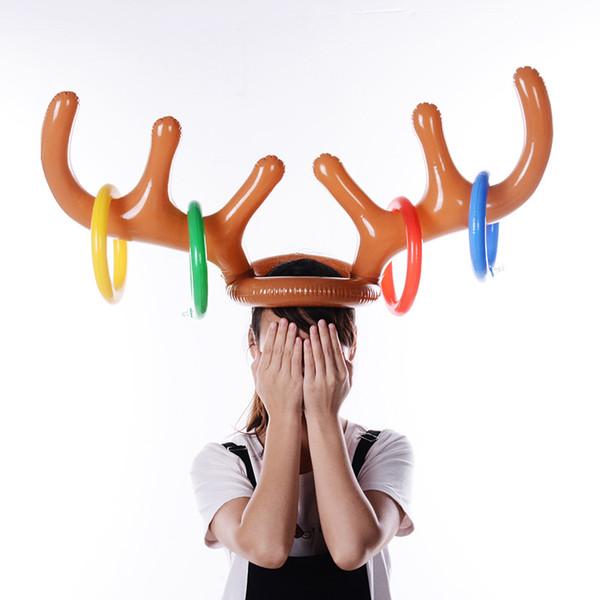 Gonfiabile in PVC corna di renna Cappello Anello Toss gioco Xmas Party i giocattoli Christmas Party 2 Antlers 4anelli accessorio dei capelli del cappello del partito KKA7547