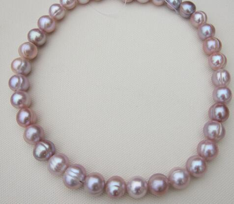 Beautiful 12-13mm South Sea Baroque lavender pearl necklace 18 inches silver