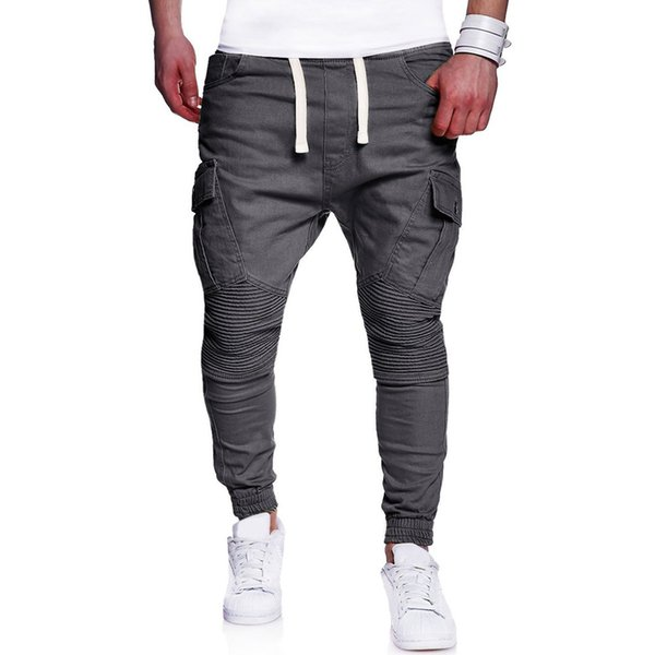 Pop2019 Pattern Foreign Trade Man Solid Color Fold Split Joint Cool Time Haren Will Code Bound Feet Pants 7442