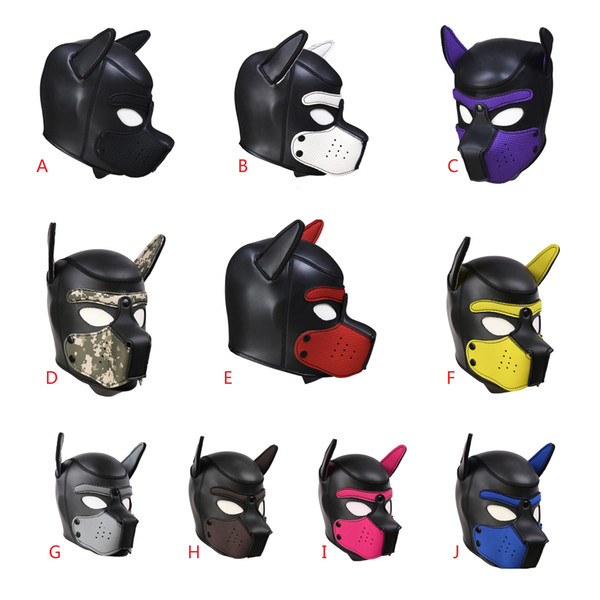 top popular 10Colors High Quality HOT CR Rubber Dog Head SM Training Controlled Headgear Fetish Masked Costume Ball Role Play Head Mask Bondage Sex Toys 2019