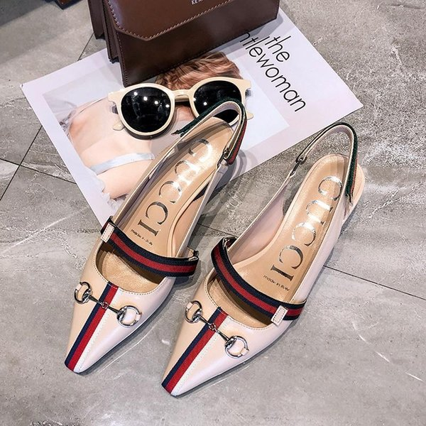New Italian summer brand women's shoes GG leather pointed female sandals wedding party ladies casual shoes free shipping 35-40 size 5461