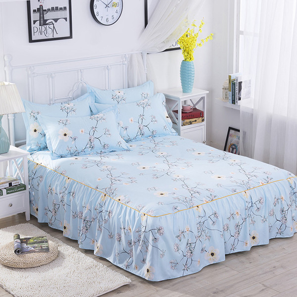 Beauty Flower Bed Skirt for Kids Adults Single Double Bed 100% Polyester Sanding Bed Skirts (No Pillowcase)