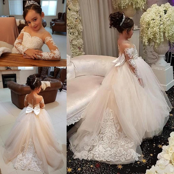 top popular 2020 Hot sale Cheap Blush Pink Flower Girls Dresses Long Sleeves For Weddings Lace Appliques Ball Gown Birthday Girl Communion Pageant Gowns 2021