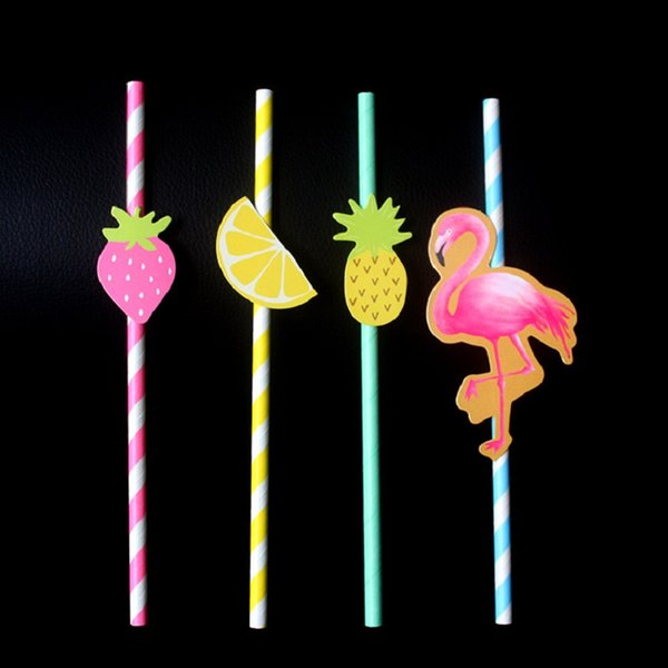 Wholesale Paper Straws 100pcs Eco Flamingo Paper Straws Pink Strawberry Fruit Mix Drinking Straw for Party Bar