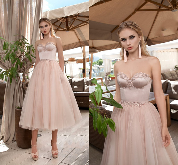 2019 Sweety Prom Dresses Sweetheart A Line Quinceanera Dresse Lace Appliqued Cheap Evening Gowns Tea-length Formal Dress