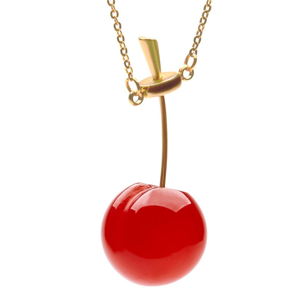 2019 Lovers Fashion Cherry Pendants Necklace With Gold-color Titanium Steel Chain Valentine's Day Gift For Ladies Neck Jewelry T190625