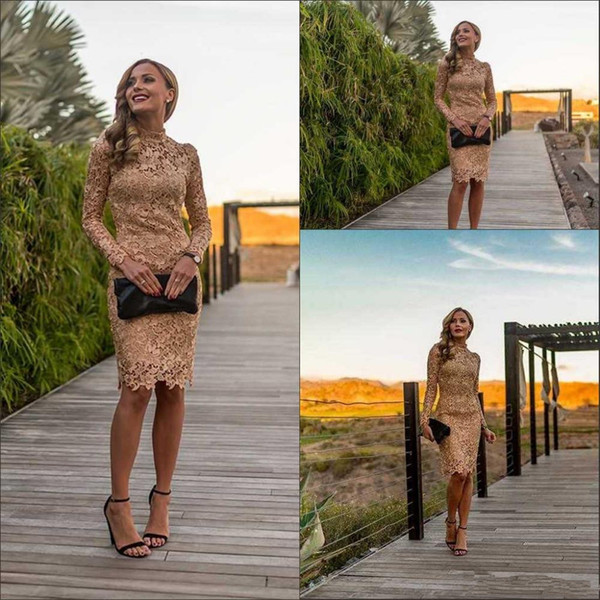 Long Sleeve Lace Gowns Short Evening Dresses Cocktail Dress Homecoming Dresses High Neck Elegant Mini Lace Party Gowns Customize Hot Sale