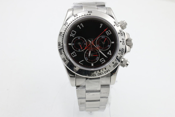 2018 Hot new luxury brand black plate silver stainless steel strap sapphire glass high quality automatic mechanical watche