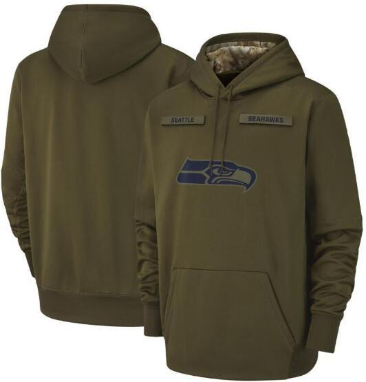 Felpa da uomo 2018 Seattle Seattle Felpa Seahawks Salute to Service Sideline Therma Performance Pullover Hoodie Olive