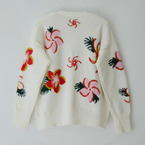 Femmes Designer Floral Cardigan Pulls d'impression pour les jeunes filles Hauts Casual long boutonnage simple brodé col en V manches 2020 d'hiver