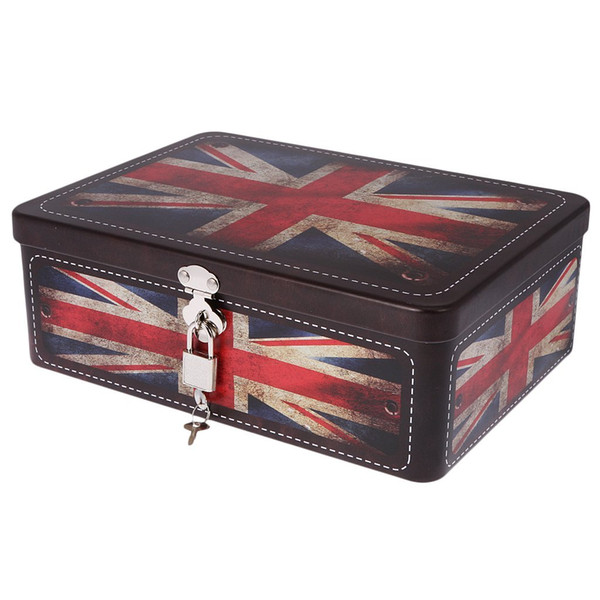 New-metal lock box square shape storage storage for candy cookies jewelry - UK flag pattern