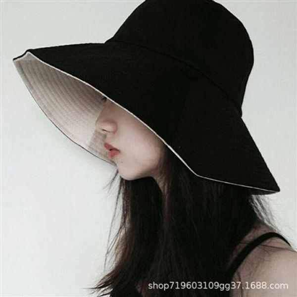 Korean version of the fisherman hat female summer tide wild Japanese double-faced face hat travel big sun hat visor