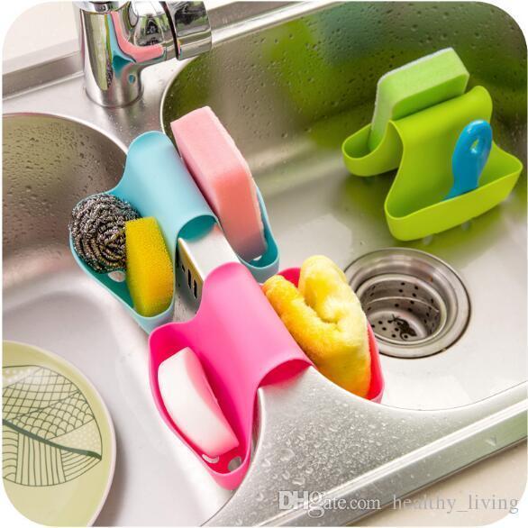 NEUE Verkauf Silikon Doppelwaschbecken Caddy Sattel Stil Küche Organizer Lagerung Schwamm Halter Rack Tool Ablassen Rack Küche Werkzeuge