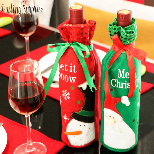 1pcs Santa Claus Christmas Drawstring Red Wine Bottle Cover Bags For Home Dinner Party Decoration Table Decor X-Mas Gift