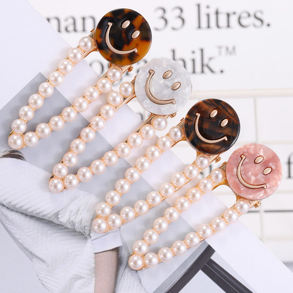 1 pc Women Round Acetic Acid Smile Face Hairgrip Waterdrop Shape Pearl Hair Clips 2019 New arrival