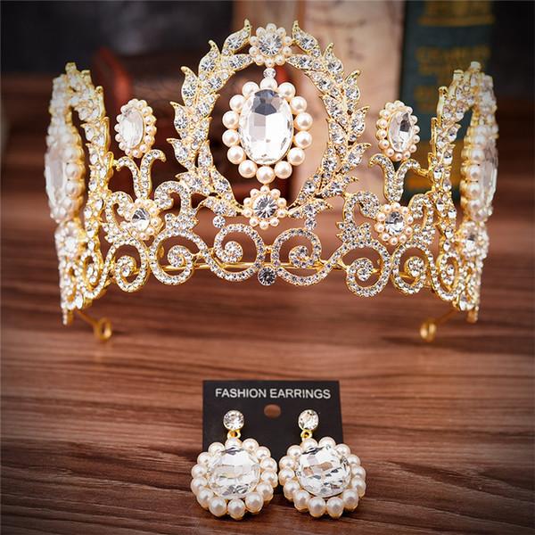 Barocco Corone da sposa vintage Sposa Perle di cristallo Tiara Principessa Corona Abito da sposaTiaras Birthday Party Strass Diademi con orecchino