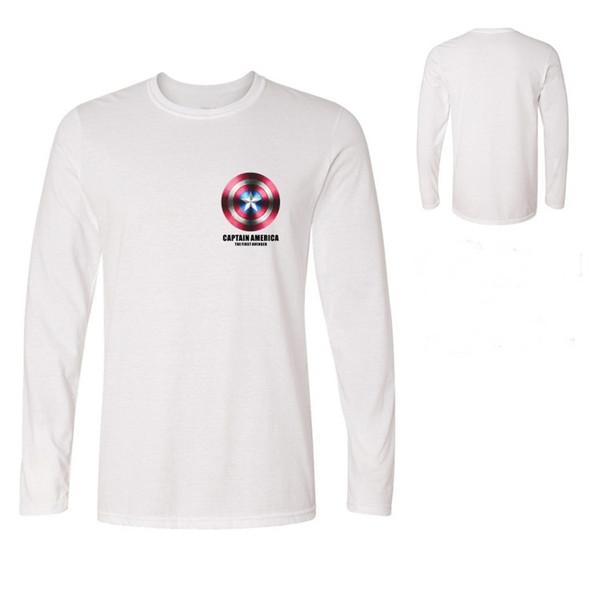 Men's Un t-shirt bouclier Captain America T-shirt 3D hauts T-shirts t-shirt noir Avengers Equipe VEtements Coton Long sleeve Tee