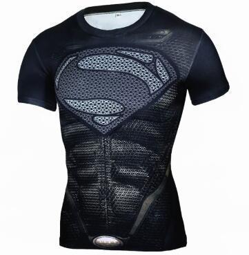 Siyah Panter Supermen 3D T Gömlek Kısa Kollu Sıkıştırma Gömlek Erkekler Crossfit Spor Üstleri Anime tshirt camiseta rashguard MMA