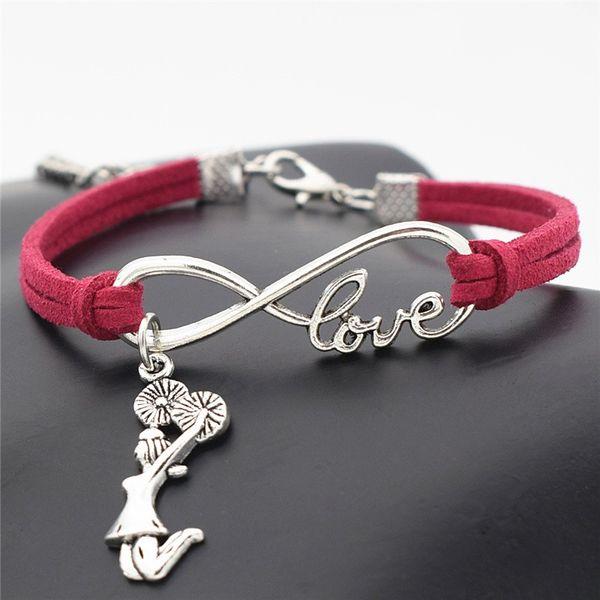 New Infinity Love Cheerleader Cheer Team Girls Pendants Bracelets For Women Men Rose Red Leather Suede Wristlets Ornaments Fantastic Jewelry