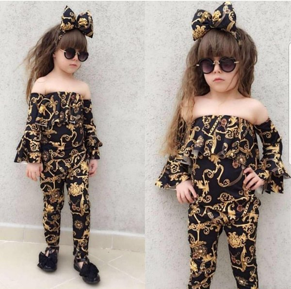 3 adet Yürüyor Bebek Kız Giysileri Set Dikiş Boynuz Uzun kollu Çan Kollu Pantolon Kıyafetler Çiçek Baskı Suit Ile kafa bandı