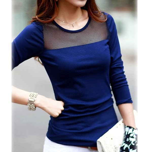 Black Blue White Tops Tees Shirts Women Cotton Shirt Lace Mesh Patchwork long sleeve T Shirts *35