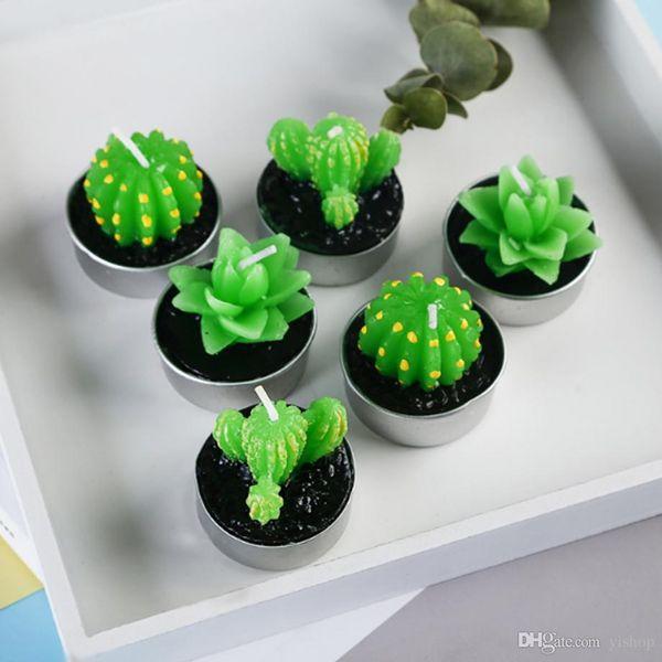 6PCS/set Christmas Wax Home Decor Cactus Candle Table Tea Light Garden Mini Green Candles For Wedding Party Birthday Decoration Xmas Gift