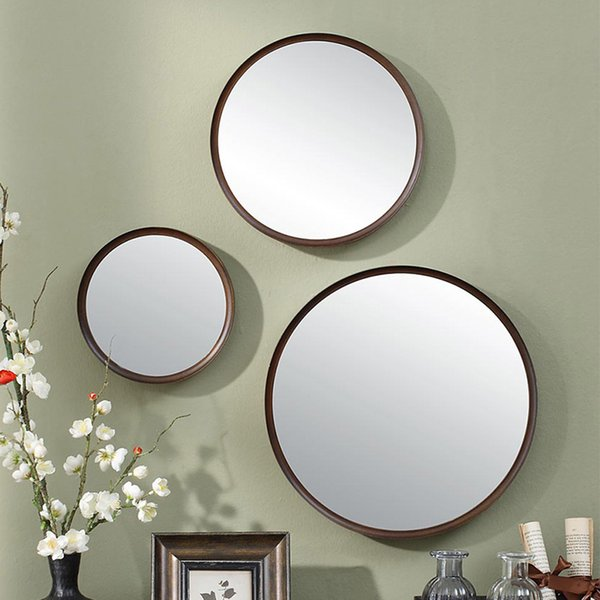 Wood Round Bathroom Mirror Chinese Style Wall Hanging Bedroom Mirror Dressing Table Decoration Makeup Mirror Wx8231340 Mirrors For Bathroom Mirrors