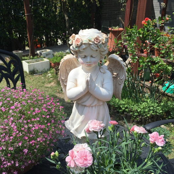 Retro Courtyard Outdoor Rose Garland Lips Angel Garden Park White Figurines Decoration Ornament Sculpture Home Resin Boy Craft