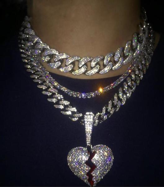 Hip hop jóias com zircão gelado out chains Vintage High grade amor coração pingente de colar de aço inoxidável jóias mens atacado colar