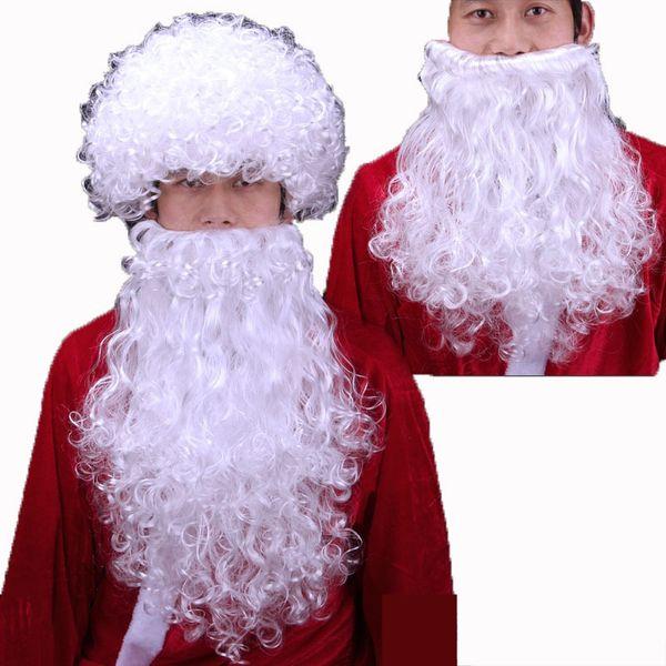 Рождество Санта парик Белый Борода Санта одеваются Supplies Ролевые Парик Борода Set много Оптовая Бесплатная доставка быстрая доставка