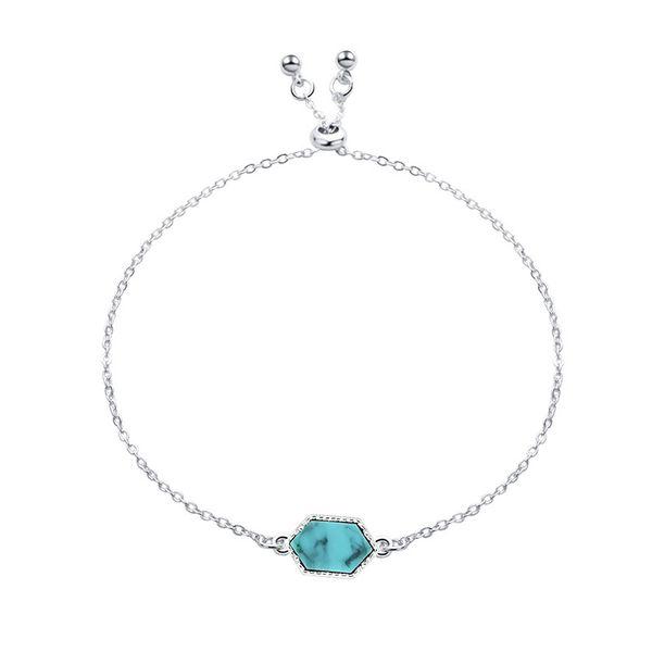 Hexagon Diamond Women Bracelets Green Turquoise Jewelry Female Bracelet Crystal Cluster Charm Bracelets Natural Blue Black Stone Ornaments
