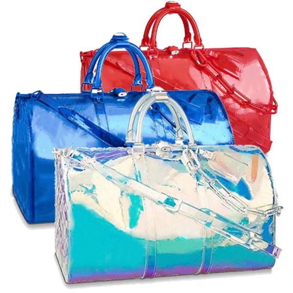 2019 pattern Classic Luxury Laser Flash PVC Designer Handbags blue keepall 50cm Transparent Duffle Bag Brilliant Colour Luggage Travel 71c0#