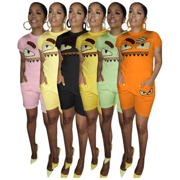 Chándal de bordado de dibujos animados de mujer Little Monsters Camisetas rosadas Camiseta Tops + Shorts Trajes cortos de verano de 2 piezas Jogger Sports Suit S-3XL