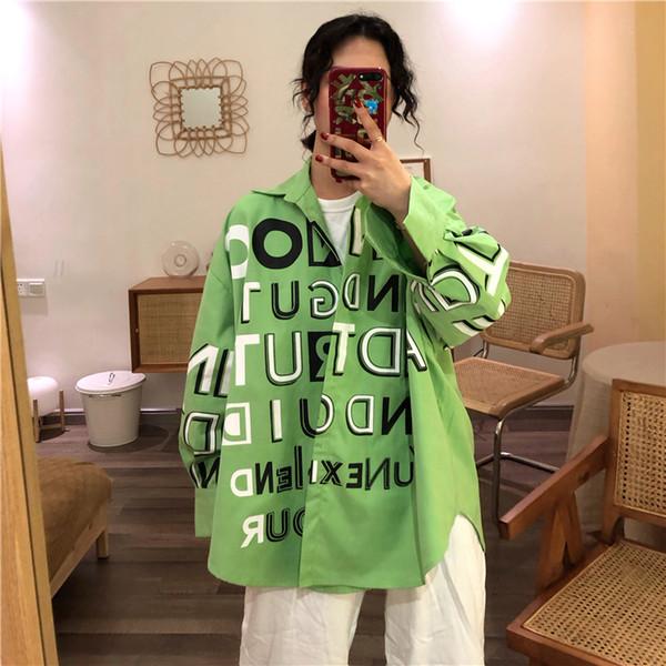 Avokado Yeşil Beyaz Mavi Graffiti Harf Baskı Büyük Boy Gevşek Bluz Streetwear Harajuku Kore Kadınlar Man Üst Gömlek Casual Punk