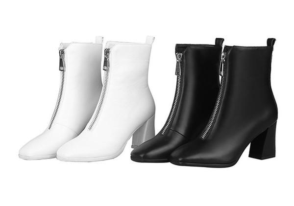 2019 Nouvelle arrivée Bottes de femme, talon haut en cuir véritable bottes Haute-Martin, les femmes de haute qualité Bottes de travail, bottes habillées 009 OTP