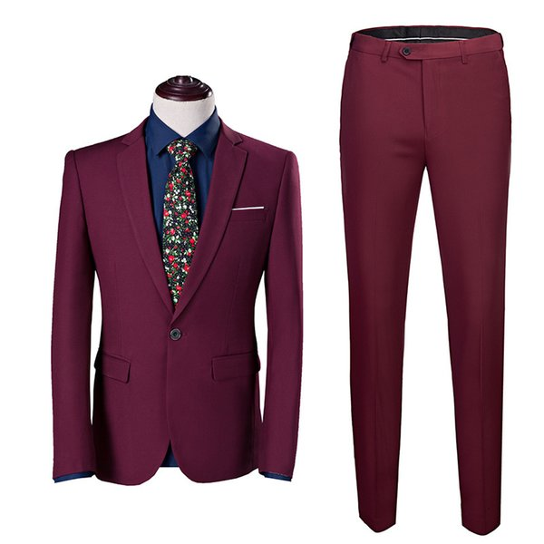 wine red suit