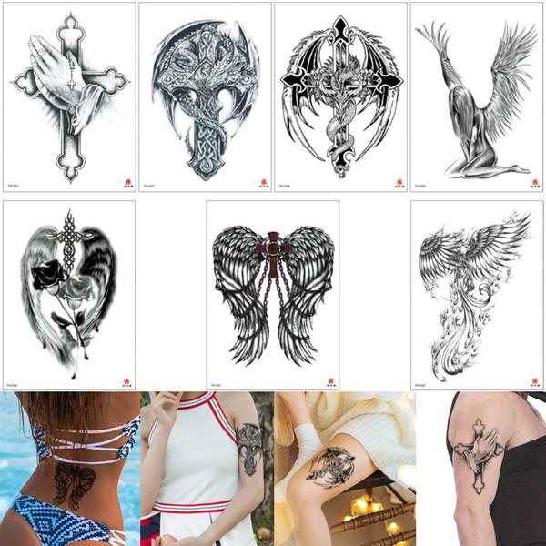 Fake Black Cross Tattoo Wing Rose Flower Phoenix Decal Designs Sexy Temporary Tattoo Girl Body Art Sticker Boy for Arm Back Chest Waterproof