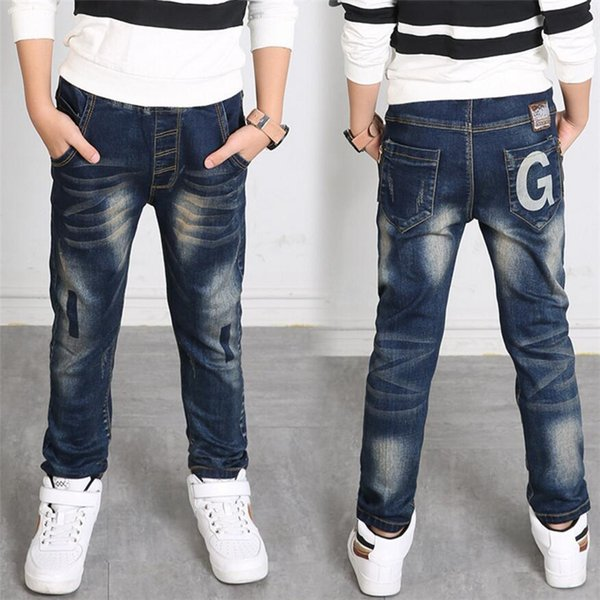 2019 Spring And Autumn Fashion Solid Elastic Waist Trousers Casual Cotton Loose Kids Pants New Design Children Boys Denim Jeans Y19051504