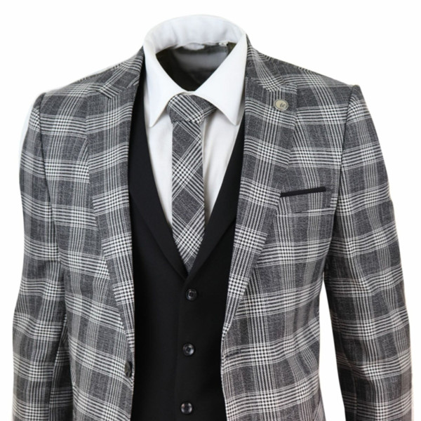 Cinza preto dos homens Ternos 3 peça traje Homme Verifique 1920 Prom clássico Charcoal casamento Gatsby Tweed Vintage Suit