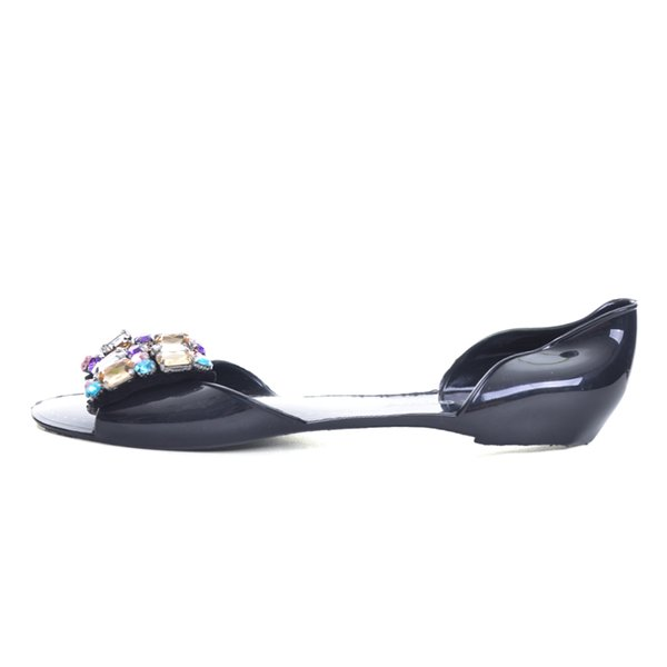 Jelly Shoes Woman Summer Crystal Jelly Sandals Beach Slip On Flats Casual Bling Women Shoes Size 35-40 XWZ3468