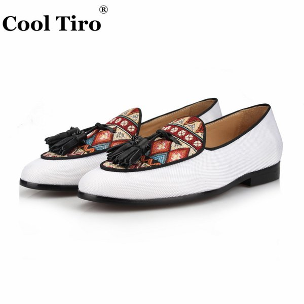 Cool and fashionable thales white sail cloth fringe loafers men's slippers slipper wooden card shoes men's dress shoes flat shoes leather lo