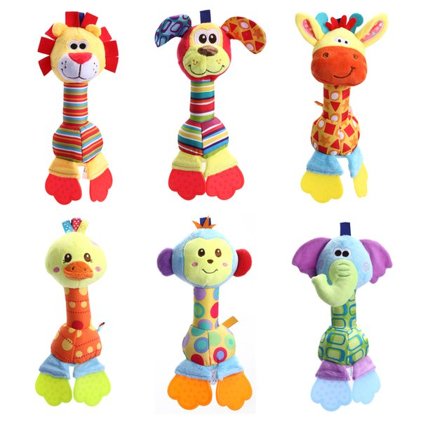 Newborn Cartoon Animal Rattle /Elephant/Lion/Duck/Puppy/Monkey Handbells Infant Teether animal rattles giraffe rattle baby