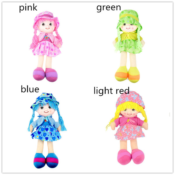 Girls Rag Dolls 42cm 4 colors loving heart stars bows pattern dressed dolls with the braids Kids toys stuffed soft plush figures dolls ifts