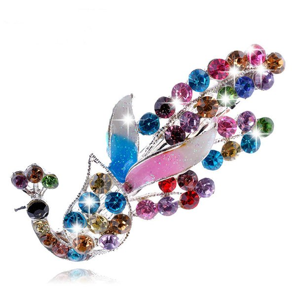 Fashion Ms Crystal Diamond peacock Hairpins Hair Clip Barrette Hair Band Accessories Multicolor free shipping